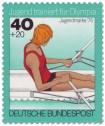 Briefmarke: Jugendliche beim Einer-Rudern