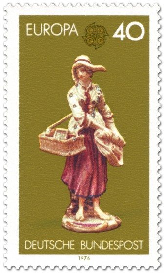 Briefmarke: Porzellanfigur Straßenhändlerin