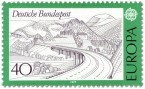 Briefmarke: Landschaft mit Autobahnbrücke in der Rhön