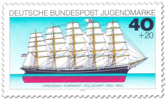 Briefmarke: Fünfmaster-Segelschiff Preussen (Vollschiff)