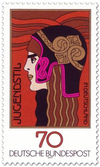 Briefmarke: Jugendstil Frauenkopf (die Athene)