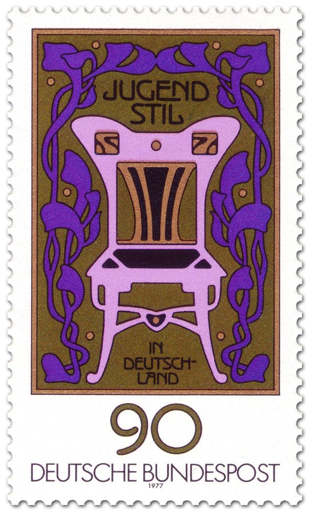 jugendstil ornamente stuhl briefmarke 1977. Black Bedroom Furniture Sets. Home Design Ideas