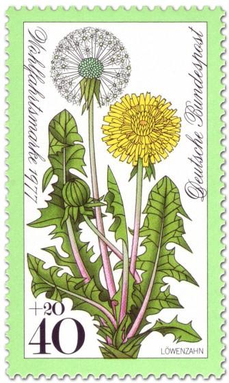 Briefmarke: Löwenzahn, Pusteblume