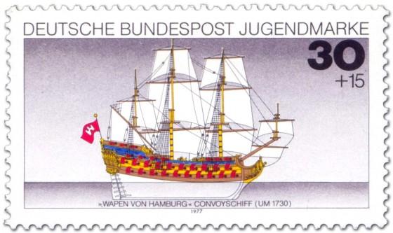 Briefmarke: Segelschiff Dreimaster Wappen von Hamburg