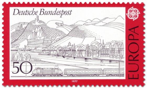 Briefmarke: Rheinlandschaft im Siebengebirge mit Eisenbahn