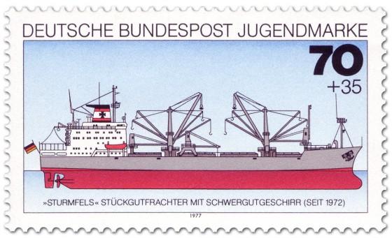 Briefmarke: Stückgutfrachter Sturmfels Schwergewichtsgeschirr