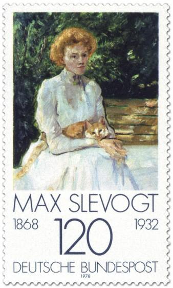 Briefmarke: Dame mit Katze von Max Slevogt