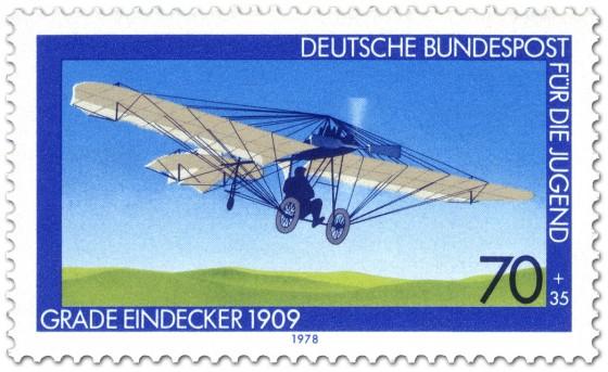 Briefmarke: Eindecker von Hans Grade