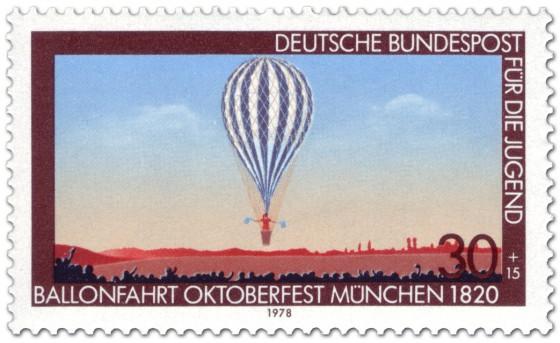 Briefmarke: Ballonfahrt auf dem Oktoberfest München