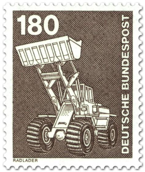 Briefmarke: Radlader, Bagger