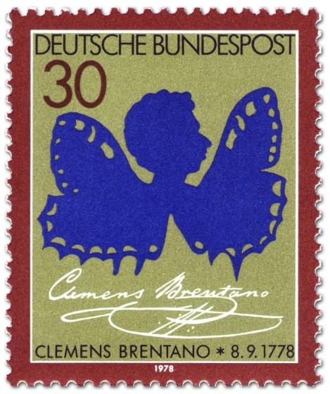 Briefmarke: Clemens Bretano als Schmetterling (Scherenschnitt)