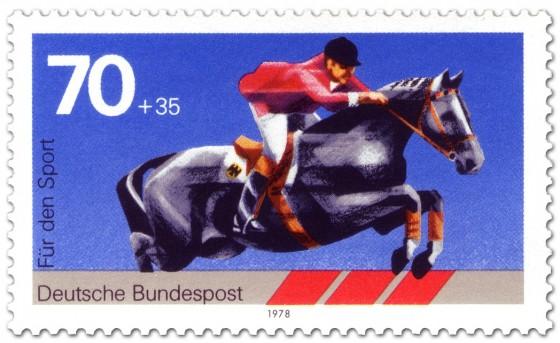 Briefmarke: Springreiten, Pferdesport (Sporthilfe)