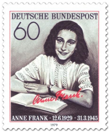 Briefmarke: Anne Frank mit Buch