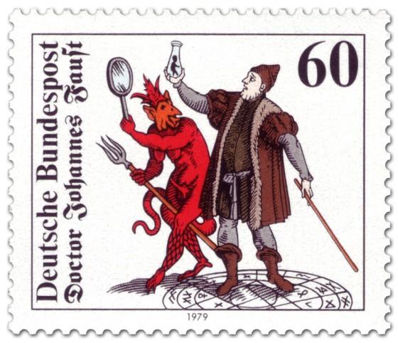 Briefmarke: Doctor Johann Faust mit Teufel