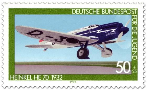 Briefmarke: Flugzeug Heinkel He 70