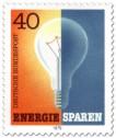 Briefmarke: Glühbirne an aus - Energie sparen