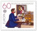 Briefmarke: Historischer Postschalter um 1854