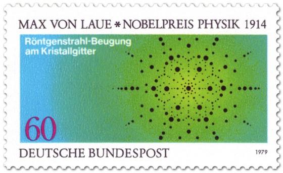 Briefmarke: Röntgenstrahl an Kristallgitter (Nobelpreis Max von Laue)