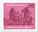 Briefmarke: Steuermann am Ruder mit Lotse