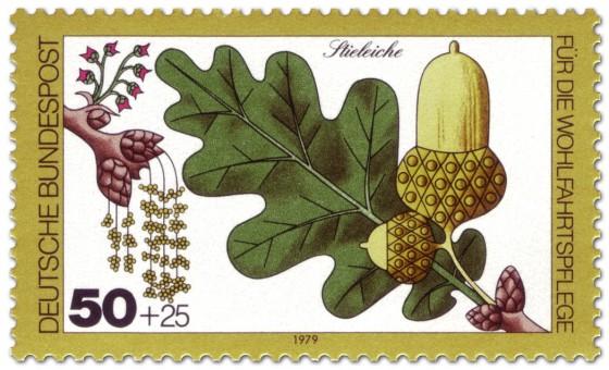 Briefmarke: Stieleiche Blatt und Eichel