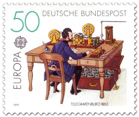 Briefmarke: Telegrafenbüro um 1863