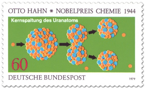 Briefmarke: Uran Kernspaltung (Nobelpreis Otto Hahn)