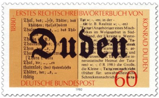Briefmarke: 100 Jahre Rechtschreiblexikon von Konrad Duden