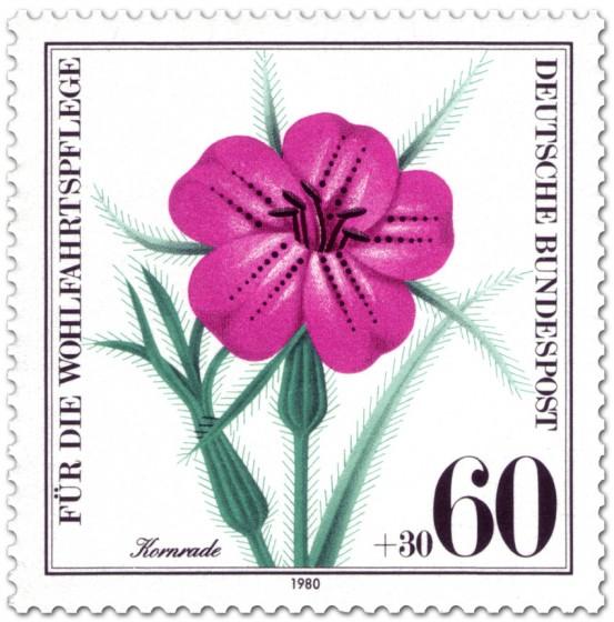 Briefmarke: Kornrade Blüte (Wildkraut)
