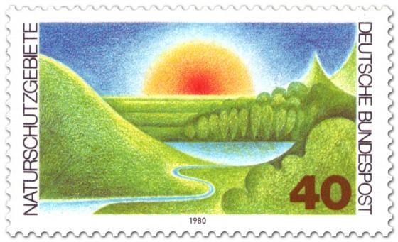 Briefmarke: Naturschutzgebiete (Landschaft und Sonne)