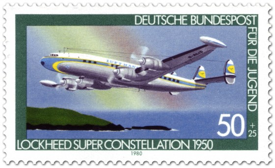 Briefmarke: Propellerflugzeug Lockheed Super Constellation