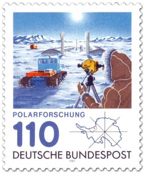 Briefmarke: Antarktis Forschungsstation Polarforschung