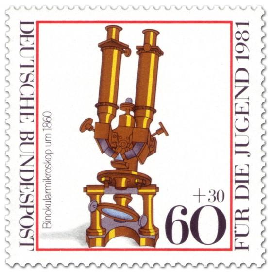 Binokularmikroskop Briefmarke