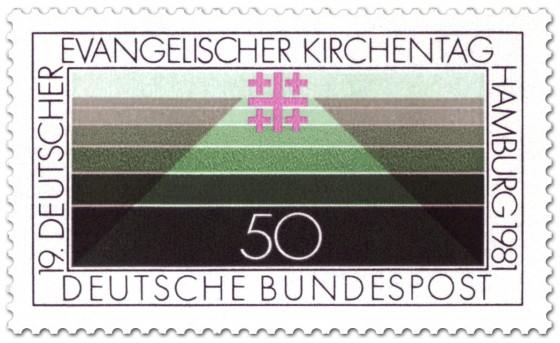 Briefmarke: Linien und Jerusalemkreuz (ev. Kirchentag)