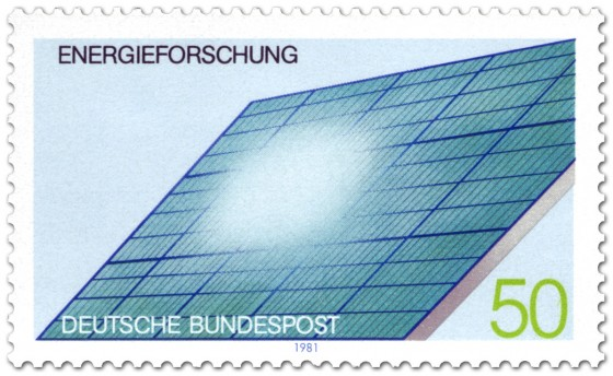 solarzellen auf einem dach energieforschung briefmarke 1981. Black Bedroom Furniture Sets. Home Design Ideas