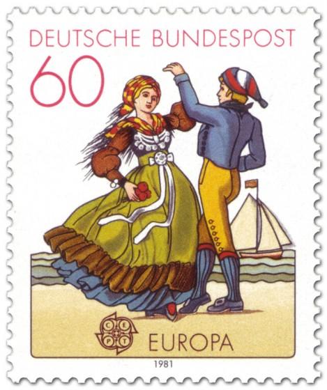 Briefmarke: Tracht aus Friesland (Folklore-Tanz)