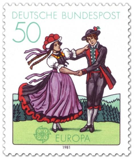 Briefmarke: Tracht aus dem Schwarzwald (Folklore-Tanz)