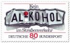 Briefmarke: Verbeultes Nummernschild - Alkohol am Steuer