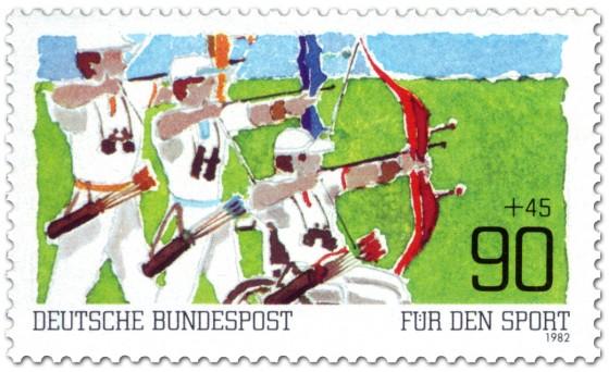 Bogenschießen - Briefmarke BRD (1982) Entwurf: Buschmann
