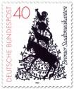 Briefmarke: Die Bremer Stadtmusikanten als Scherenschnitt