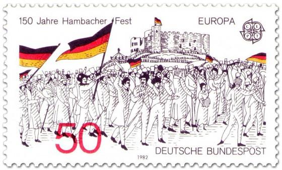 Briefmarke: Menschen mit Fahnen - Hambacher Fest