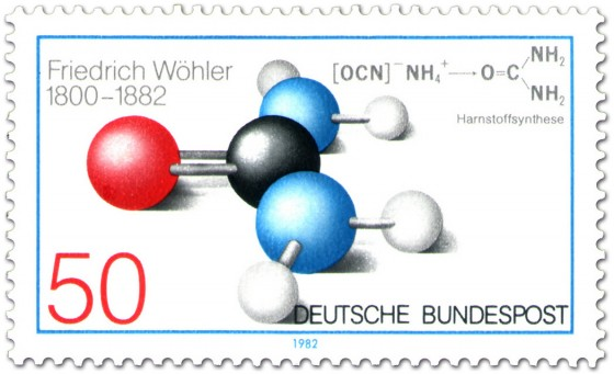 Briefmarke: Harnstoff Molekül (Friedrich Wöhler)