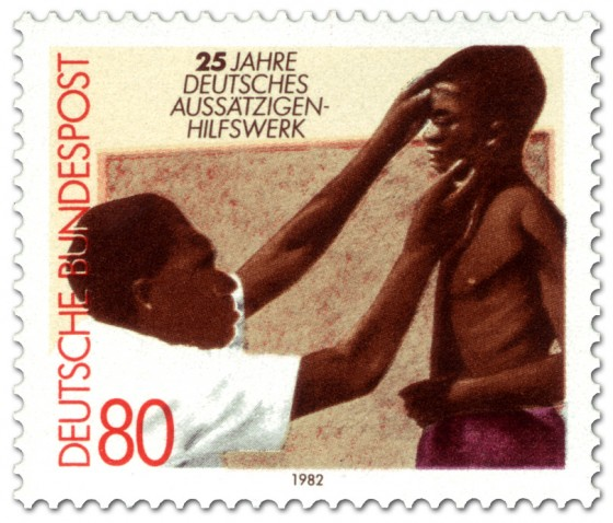 Briefmarke: Lepra in Afrika - Kind beim Arzt