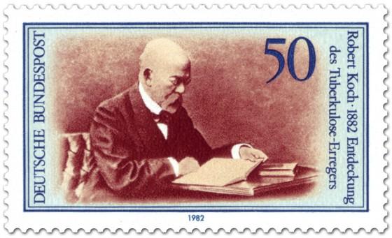 Robert Koch Briefmarke (1982), mit der die Entdeckung des Tuberkolose-Erregers gewürdigt wurde