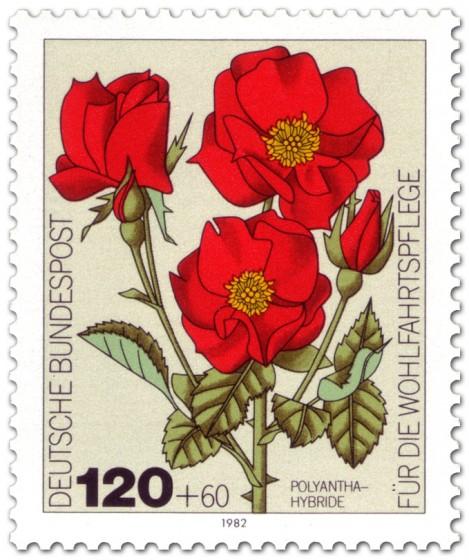 Briefmarke: Rote Rosen: Polyantha-Hybride