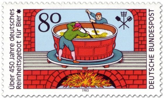 Briefmarke: Bier Brauen im Kessel (Reinheitsgebot )