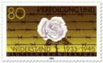 Briefmarke: Weiße Rose vor Stacheldraht