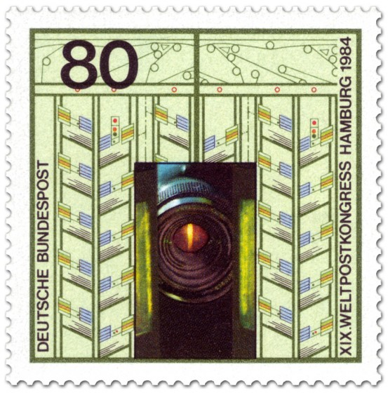 Briefmarke: Abtastobjektiv Briefverteilanlage