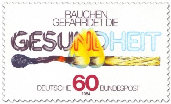 Briefmarke: Abbrennendes Streichholz (Anti-Raucher-Kampagne)
