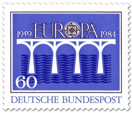 Briefmarke: Brücke Europamarke (Blau)
