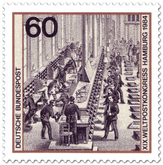 Briefmarke: Hauptpostamt Berlin: Briefsortierung um 1880